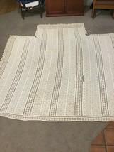 "Antique 1890 Handmade Crochet Bedspread 108"" X 108"" Full Double Ivory Cream - $100.00"
