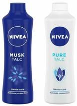 NIVEA Talc, Musk Mild Fragrance & Pure Talc, Gentle Care Talcum - 400g Each - $37.56