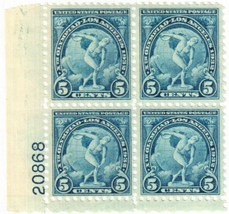 1932 Olympic Discus Thrower Plate Block of 4 US Stamps Catalog Number 719 MNH