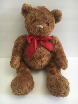 "Animal Adventure Brown Teddy Bear Plush Red Satin Bow 2012 Toy 19"" - $31.68"