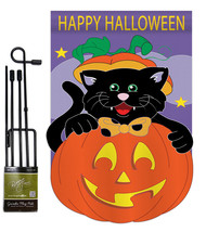 Black Cat - Applique Decorative Metal Garden Pole Flag Set GS112042-P2 - $29.97