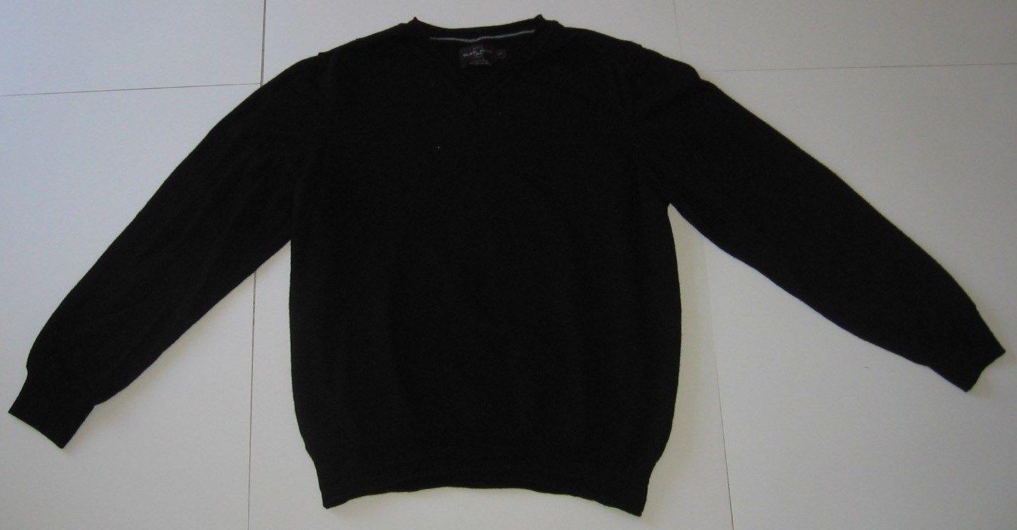 b46e76dba2b Black Brown 1826 Men s Wool Sweater Large L 100% Merino Black Made in Italy