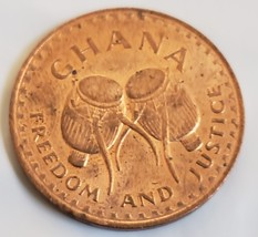 """1967 GHANA One Pesewa Freedom and Justice 1"""" coin - $4.95"""