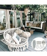 Outdoor Indoor Garden Cotton Hanging Rope Air/Sky Chair Swing Beige Hammock - £64.22 GBP