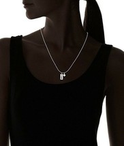 Dolce Vetra Sterling Silver 925 Luck Tag & Cubic Zirconia Clover Charm Necklace image 2