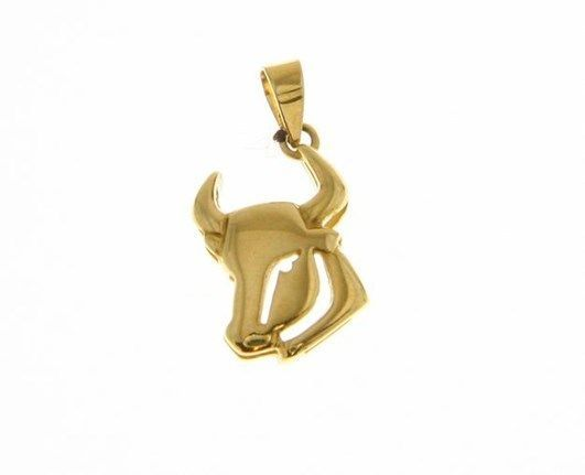 SOLID 18K YELLOW GOLD ZODIAC SIGN PENDANT, ZODIACAL CHARM, TAURUS MADE IN ITALY