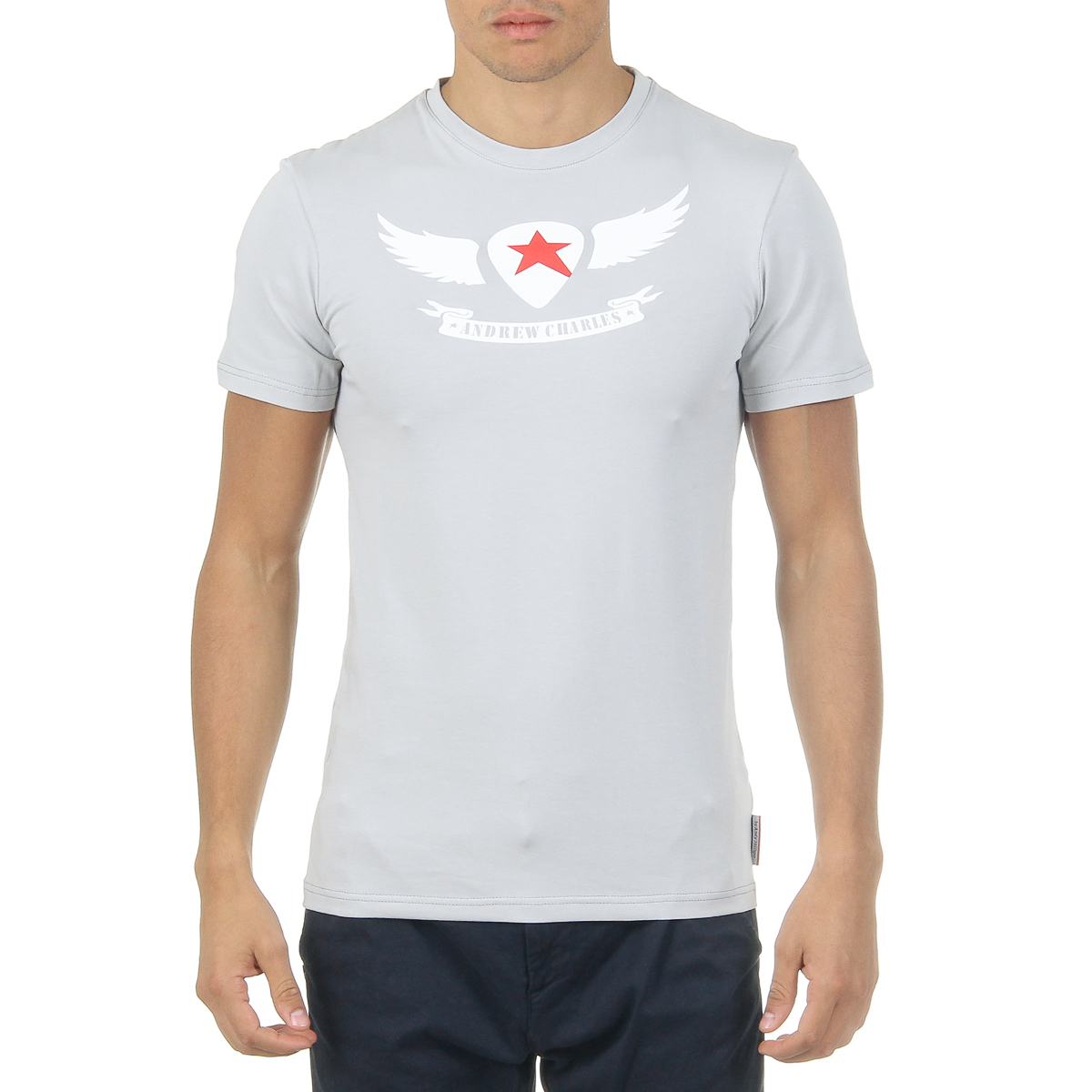Primary image for Andrew Charles Mens T-Shirt Short Sleeves Round Neck Light Grey KEITA