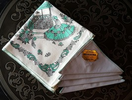 NOS Artmart 5 pc Bridge Set 1 Tablecloth 4 Napkins Gray Green Well Scene... - $21.73