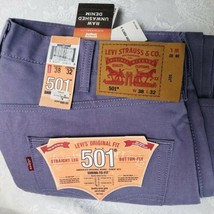 Levi's 501 Colored Jeans 38x32 Lavender Purple Raw Unwashed Denim Shrink To Fit - $29.65