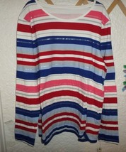 Talbots Cotton Shine Stripe Tee Top Nwt Misses L - $20.00