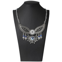 New Silver Choker Necklace Snap Jewelry for Women Angel Wings 18mm Snap ... - $10.67