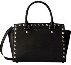7e48bcfe04 Michael Kors Selma Stud Satchel Bag Purse Black Saffiano Leather Crossbody  Nwt! - $214.00