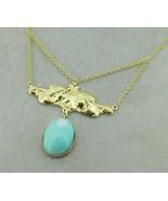 14k Gold Genuine Natural Turquoise Festoon Necklace Nouveau Style (#J4882) - $1,084.05