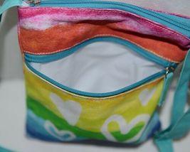 Three Cheers For Girls Brand 29170 Turquoise Rainbow White Hearts Cross body Bag image 5