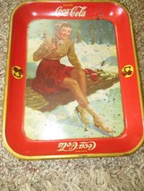 original Drink Coca-Cola 1941 lady ice skater holding bottle,serving tray - $118.75