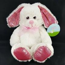 Goffa White Easter Bunny Shiny Pink Glitter Ears eyes Feet Rabbit Plush Stuffed - $13.36