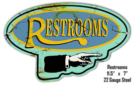 Right Restrooms Laser Cut Out Reproduction Metal Sign 7x11.5 - $23.76