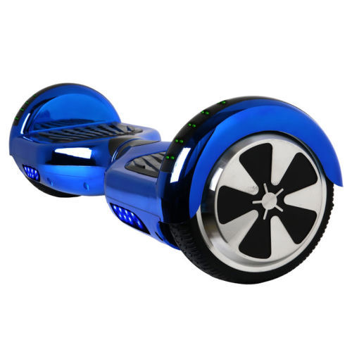 """Chrome Blue Bluetooth LED Hoverboard Two Wheel Balance Scooter 6.5"""""""