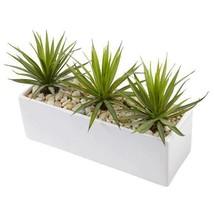 Faux Mini Agave Plant in Rectangular Ceramic ~ Indoor artificial plant - $63.95