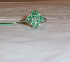AFRICAN EMERALD MARQUISE COCKTAIL RING, PLATINUM / SILVER, SIZE 8, 1.00(TCW) - $89.99