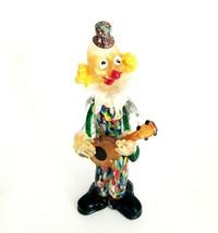 Murano Italy Multicolor Hand Blown Art Glass Colorful Clown Guitar Figur... - $110.00