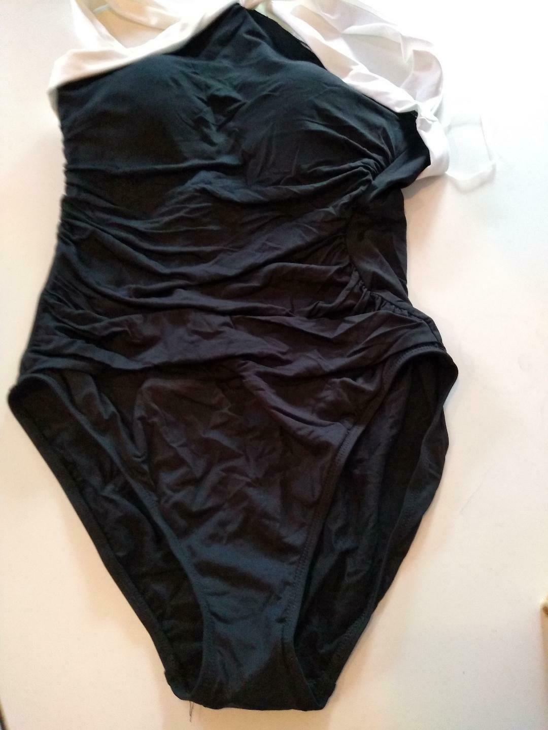 Ralph Lauren Black One Piece Slimming Fit Swimwear Size 12