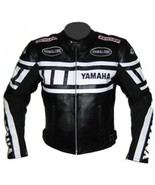 YAMAHA BLACK AND WHITE  COWHIDE LEATHER RACING MOTORCYCLE  JACKET ALL SIZES - $135.00