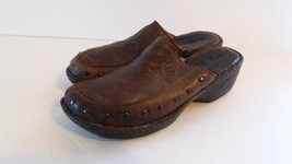 Born Handcrafted Women Leather Brown Clog Sandals Size 9 - $17.57
