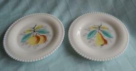 Westmoreland  Beaded Edge Milk Glass Dessert Plates Dishes Hand painted Fruit - $9.65