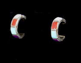 Vintage Southwestern Sterling Silver Multi-Stone Inlay Partial Hoop Earrings - $44.99