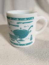 Glass Patterned White Coffee Mug Country Kitchen Pattern Light Blue And ... - $9.99