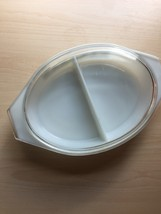 Pyrex 1.5qt milk glass divided dish with square flower design and glass cover image 5