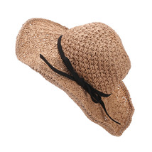 Women Fashion Foldable Bowknot Large caps Brim Summer Straw West Cowboy ... - $21.28