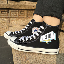 Black Canvas Sneakers Design FOLLOW ME LIKE IT All Star Shoes Converse Chucks - $119.00