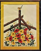 "Sultana Needlecraft ""The Visitor"" Flowers, Fence, Bird 20 x 24"" Wall Han... - $17.99"