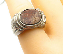925 Sterling Silver - Vintage Wooden Detail Ribbed Wide Band Ring Sz 7 -... - $45.14