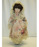 "17"" Porcelain Doll Green Eyes Dark Brown Hair - $19.79"