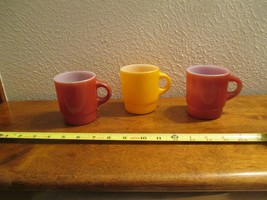 Fire King Anchor Hocking 3 Stackable Mugs Cups Glasses Lot 3 - $14.99