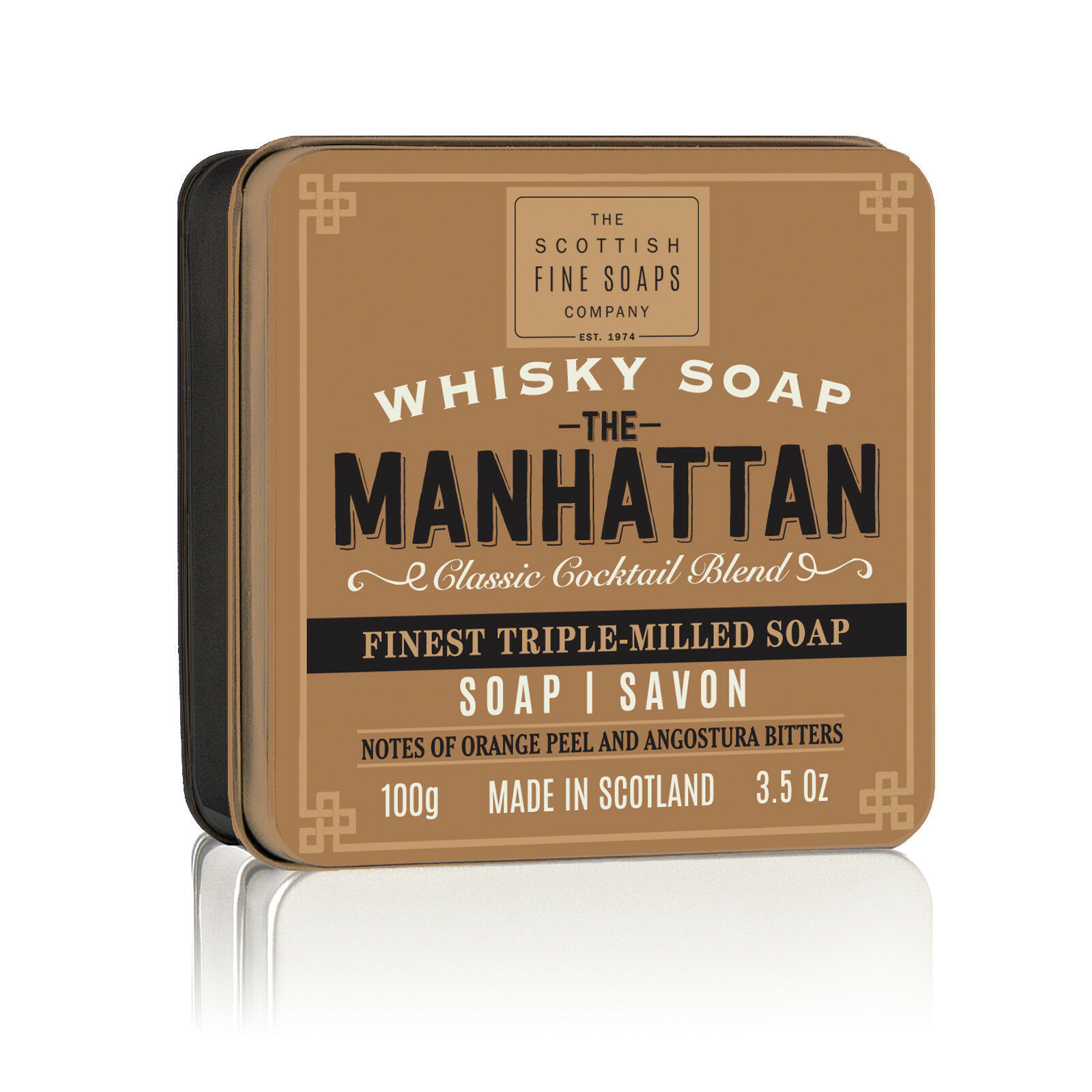 Scottish Fine Soaps Manhattan in a Tin 100g 3.5oz, Imported From Scotland