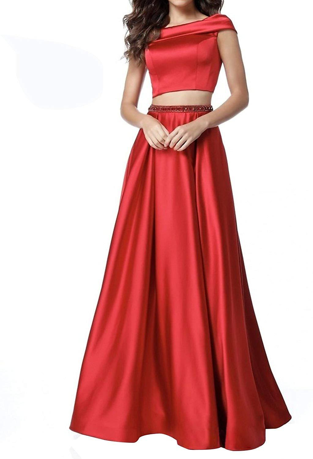 Two Piece Off Shoulder Prom Dress Long Satin Beaded Evening Dresses with Pockets
