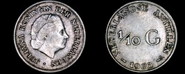 1960 Netherlands Antilles One Tenth 1/10 Gulden World Silver Coin - $5.75