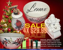 LENOX HOLIDAYS BOWL + LENOX FIGURINE + LENOX SOAP DISPENSER + LENOX WELC... - $29.99