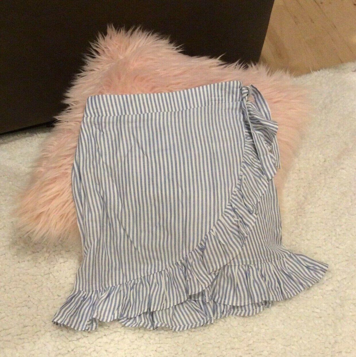 Blue Striped Wrap Skirt Wonderly Belk Adjustable Waist Junior Fits S M