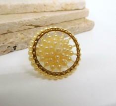 Vintage Molded Plastic Pearl Cluster Flower Statement Ring Size 9.5 I26 - $21.77