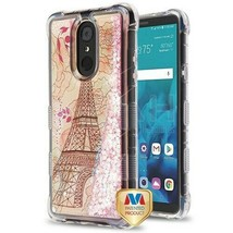 Eiffel Tower/Pink Hearts TUFF Glitter Hybrid Cover for LG Stylo 4 Plus/S... - $13.39