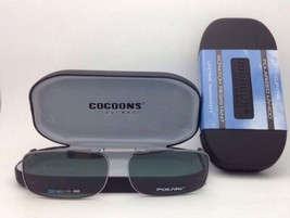 COCOONS Grey Polarized Sunglasses/Eyeglasses Over Rx Clip-on REC 15-52 Gunmetal