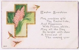Easter Postcard Easter Sunshine Birds Swallows Cross Flowers Made in USA - $2.12