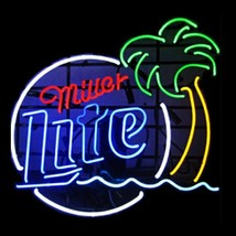"New Miller Lite Palm Tree Beer Bar Man Cave Neon Sign 17""x14"" - $107.00"