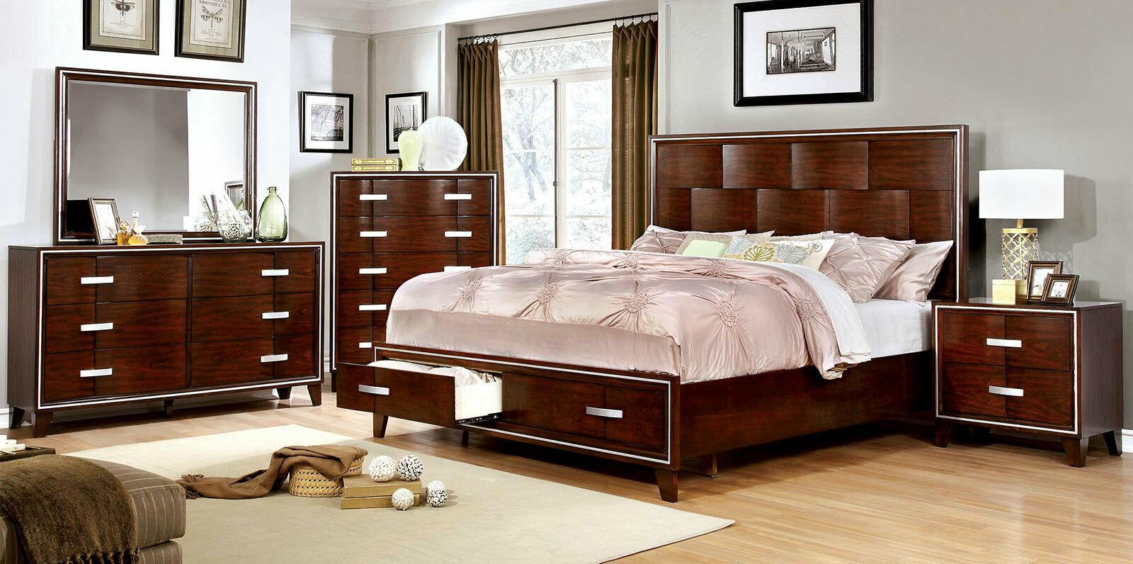rondo 5 piece modern style brown wood bedroom suite w