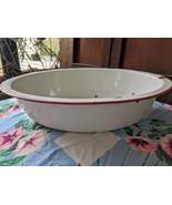 "Enamelware Oval Wash Basin 18"" Red Trim - $40.00"